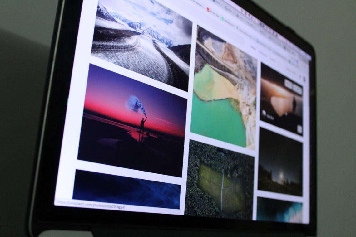 Photos on computer screen